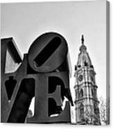 Love Is Just Black And White Canvas Print