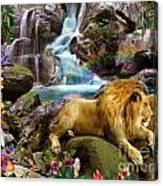 Love Lion Waterfall Canvas Print