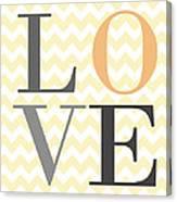 Love On Chevron Peach Canvas Print
