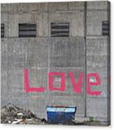 Love - Pink Painting On Grey Wall Canvas Print