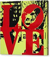 Love - Red On Lime Canvas Print
