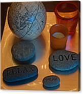 Love Relax Pray Stone Still Life Canvas Print