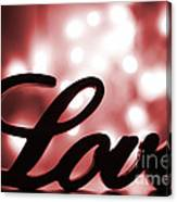 Love Sign With Red Sparkle Canvas Print