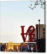 Love Statue And The Art Museum Canvas Print