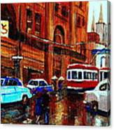 Lovers In The Rain Stroll St Catherine Street Near Morgans Department Store Vintage City Scene Art Canvas Print