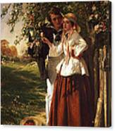 Lovers Under A Blossom Tree Canvas Print