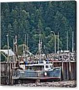Low Tide Fishing Boat Canvas Print