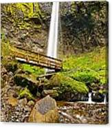 Lower Angle Of Elowah Falls In The Columbia River Gorge Of Oregon Canvas Print