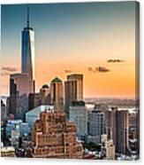 Lower Manhattan At Sunset Canvas Print