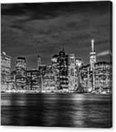 Night Skyline Of Lower Manhattan From Brooklyn Canvas Print