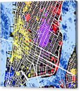 Lower Manhattan Map Canvas Print