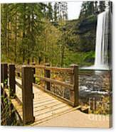 Lower South Waterfall With Footbridge In Oregon Columbia River Gorge. Canvas Print