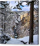 Lower Yellowstone Falls In October Canvas Print