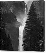 Lower Yosemite Falls Bw Canvas Print