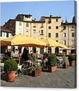 Lucca Piazza Del Mercato  Canvas Print