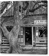 Luckenbach 2 Black And White Canvas Print