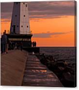 Ludington Pier And Lighthouse Canvas Print