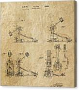 Ludwig Drum Pedal 3 Patent Art 1951 Canvas Print