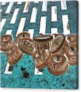 Lug Nuts On Grate Vertical Turquoise Copper Canvas Print