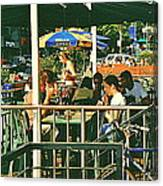 Lunch Party At The La Belle Gueule Brasserie Terrace - Park Your Bike And Enjoy The Sunny Day Canvas Print