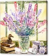 Lupins On Windowsill Canvas Print