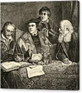 Luther Melancthon Pomeranus And Cruciger Translating  Canvas Print