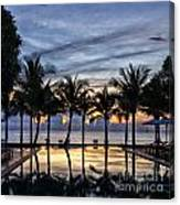 Luxury Infinity Pool At Sunset Canvas Print