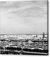 Lyon From The Basilique De Fourviere-bw Canvas Print