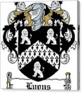 Lyons Coat Of Arms Westmeath Irish Canvas Print