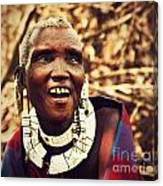 Maasai Old Woman Portrait In Tanzania Canvas Print