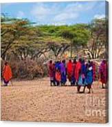Maasai People And Their Village In Tanzania Canvas Print