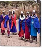 Maasai Women In Front Of Their Village In Tanzania Canvas Print