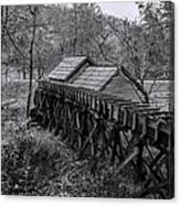 Mabry Mill Water Shute In Black And White Canvas Print
