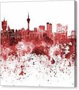 Macau Skyline In Red Watercolor On White Background Canvas Print