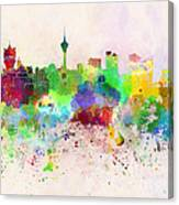 Macau Skyline In Watercolor Background Canvas Print