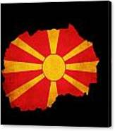 Macedonia Grunge Map Outline With Flag Canvas Print