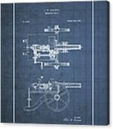 Machine Gun - Automatic Cannon By C.e. Barnes - Vintage Patent Blueprint Canvas Print