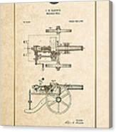 Machine Gun - Automatic Cannon By C.e. Barnes - Vintage Patent Document Canvas Print