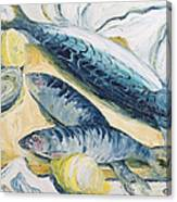 Mackerel With Oysters And Lemons, 1993 Oil On Paper Canvas Print