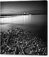 Mackinac Bridge Bw Canvas Print
