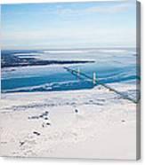 Mackinac Bridge In February Canvas Print
