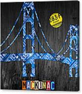 Mackinac Bridge Michigan License Plate Art Canvas Print