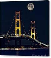 Mackinac Bridge With Moonrise Canvas Print