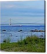 Mackinaw Bridge At Dusk Canvas Print