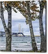 Mackinaw Bridge In Autumn By The Straits Of Mackinac Canvas Print