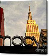 Macy's With Empire State Building - Famous Buildings And Landmarks Of New York City Canvas Print