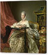 Madame De Pompadour At Her Tambour Frame Canvas Print
