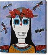 Madame Dragonfly Day Of The Dead Canvas Print
