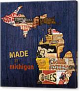 Made In Michigan Products Vintage Map On Wood Canvas Print