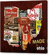 Made In Ohio Products Vintage Map On Wood Canvas Print
